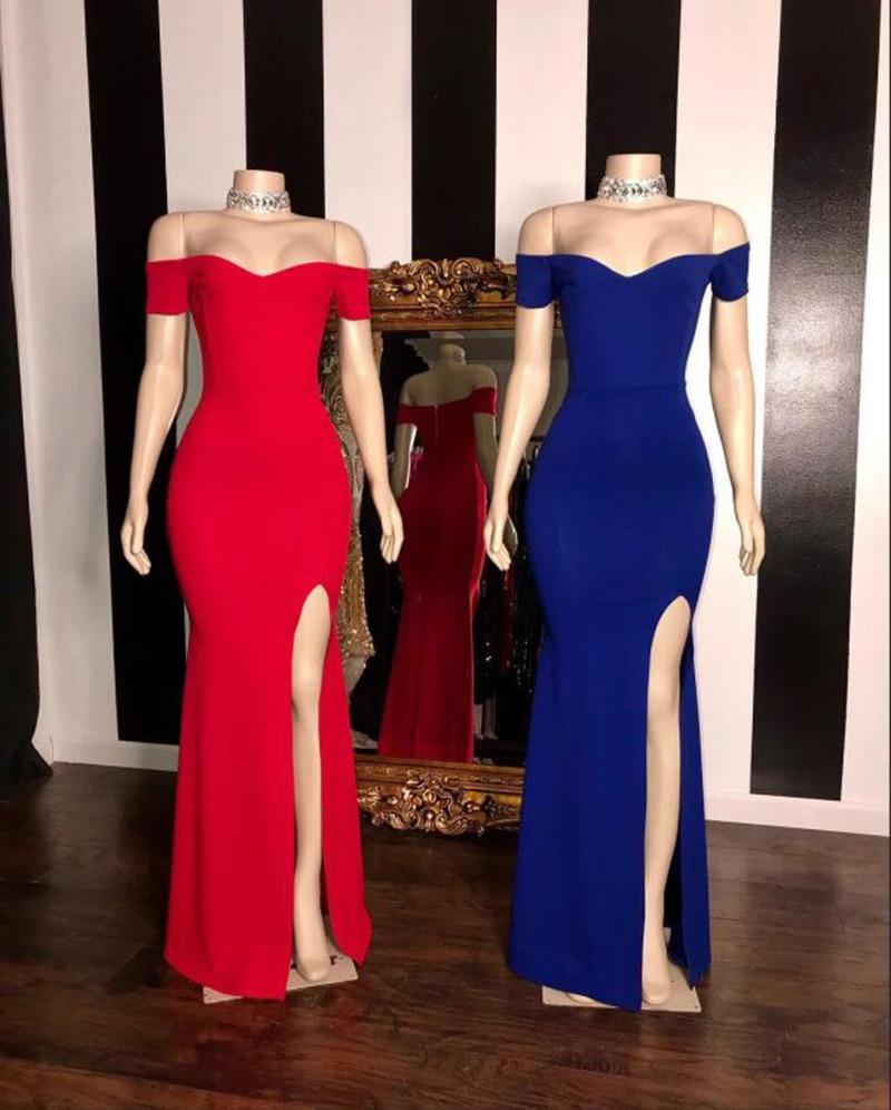 Elegant Long Prom Dresses 2019 Sexy High Slit Sweetheart Neck Short Sleeves Stretch Satin Mermaid Black Girl Prom Dress