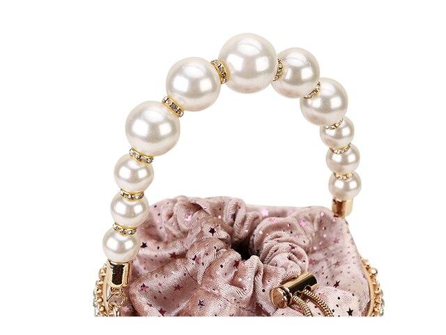 Luxury Diamond Metal Bucket Pearl Handle Chain Shoulder Bag 4