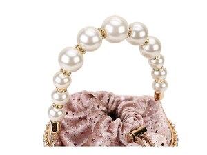 Image 4 - Sac à main de luxe pour femmes, seau en métal avec diamants, poignée de perles, sac de fête avec chaîne bandoulière