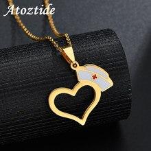 40894ac9a1f7 Atoztide mujer moda ahuecado corazón enfermera sombrero colgante collar  gargantilla médica collar con eslabón cadena enfermería .