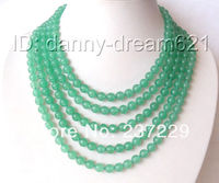 Wholesale price FREE SHIPPING AD AMAZING 1008mm round green jade beads necklace