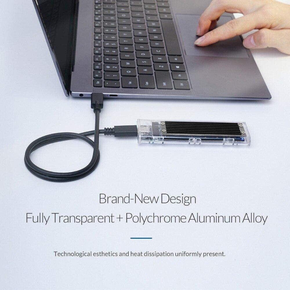 Boîtier SSD M.2 Transparent ORICO 10 Gbps compatible protocole UASP USB3.1 Gen2 boîtier Mini SSD type-c avec C à C et C à un câble - 2