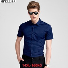 mferlier summer larger plus big size 7XL 8XL 9XL office Dress shirt men  short sleeve ef0bb4f07abf