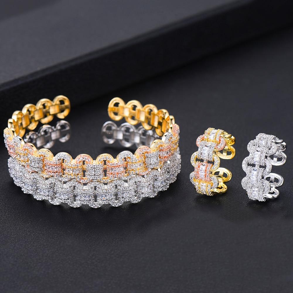 Image 3 - GODKI Luxury African Bangle Ring Sets Fashion Dubai White Bridal Jewelry Sets For Women Wedding brincos para as mulheres 2019Jewelry Sets   -
