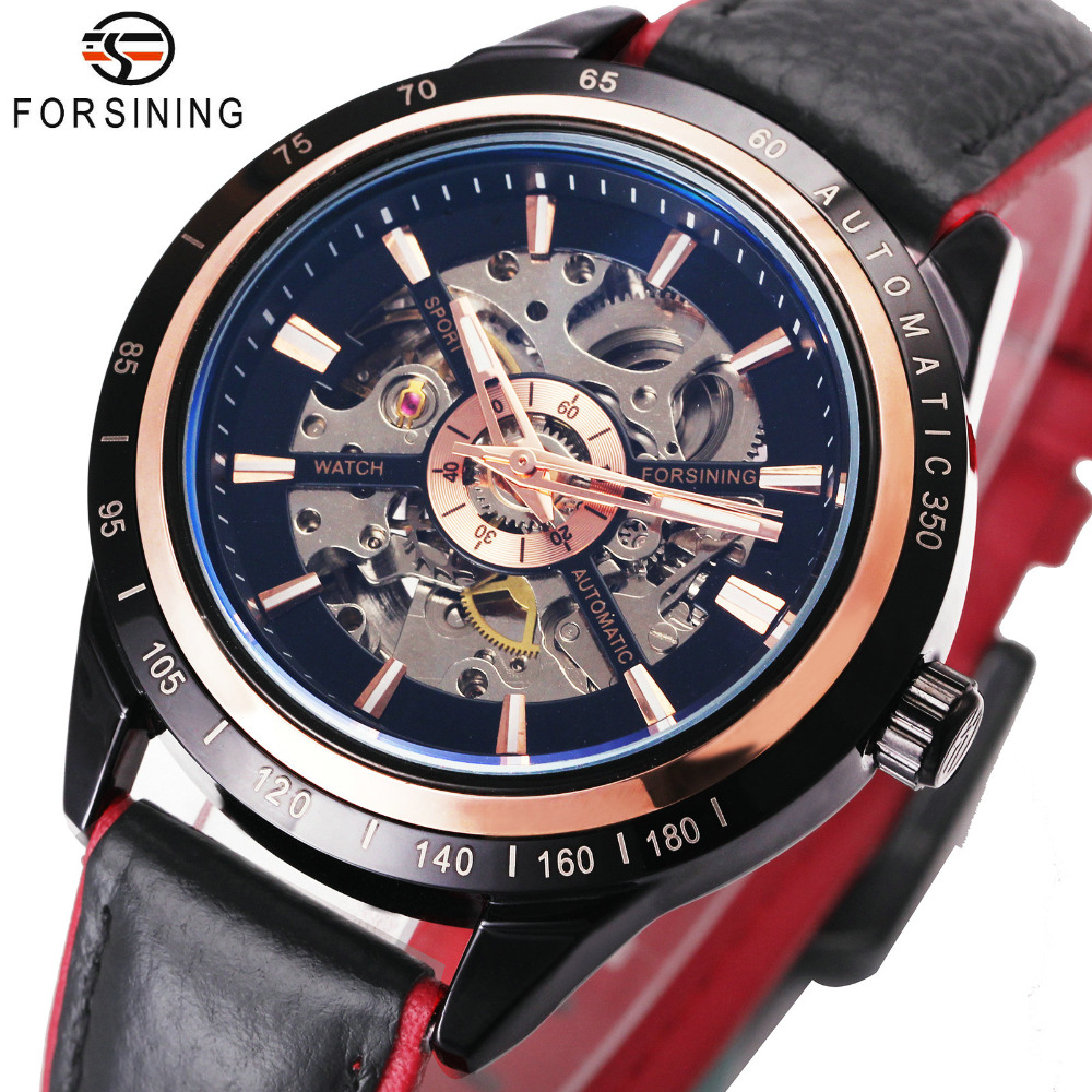 FORSINING Men Watches Top Brand Luxury Auto Mechanical Watch Skeleton Dial Contrast Color Genuine Leather Strap Wristwatch fosining luxury montre homme watch men s auto mechanical moonpahse genuine leather strap watches wristwatch free ship