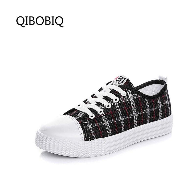 QIBOBIQ Women Vulcanize Shoes Platform Breathable Canvas Shoes Sneakers Casual Flat Fashion Candy Color Students Walking Shoes