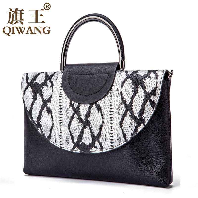 Qi Wang Meral Handle women's envelope clutch bag Chain Crossbody Bags for Women Snake Shoulder Bag Ladies Party Clutches
