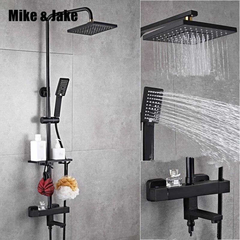 Luxe noir thermostatique ensemble de douche carré robinet de douche chaude et froide robinet De Douche Baignoire thermostatique douche mélangeur HC989