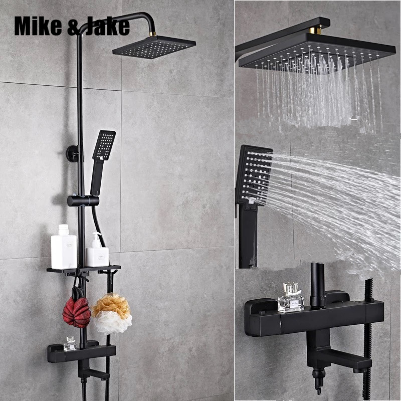 Luxury black thermostatic shower set square shower faucet hot and cold Shower faucet Bathtub thermostatic shower mixer HC989