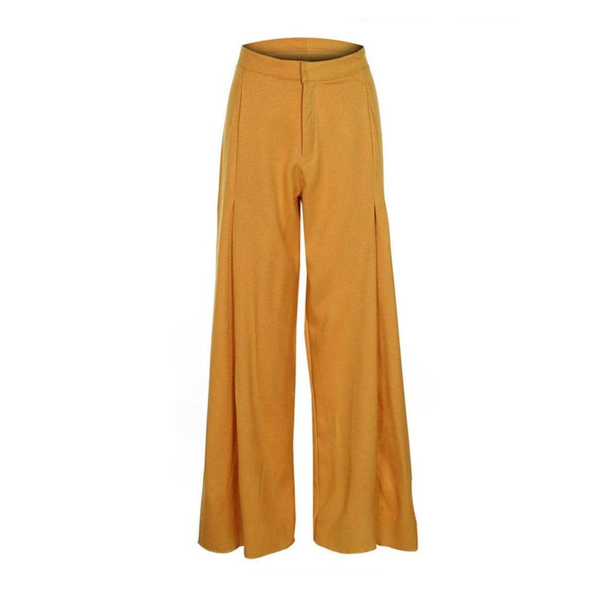 Kinikiss 2019  High Waist Women Casual Pants Wide Legs Fall Yellow Autumn White Loose Button Zipper Fashion Pleated Female Pants