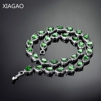 XIAGAO Fashion Women Beautiful Anti Allergic AAA Cubic Zircon Crystal Sapphire Ruby Topaz Necklaces Wedding Party