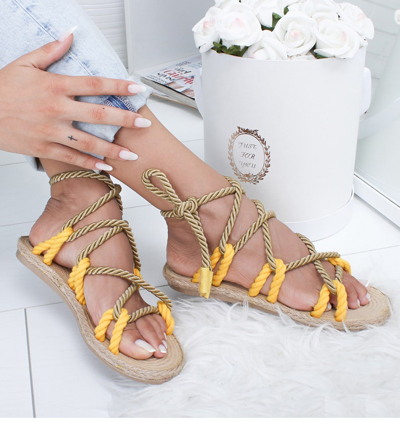 Hemp Rope Lace Up Gladiator Sandals