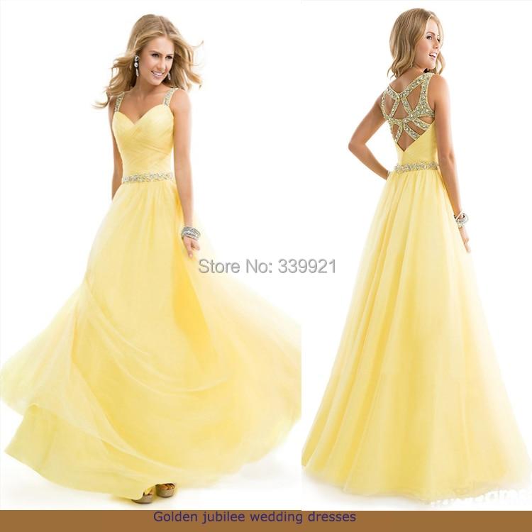 2014 Custom Made Floor Length Gown Sweetheart Open Back Beaded Belt Yellow Green Tulle Long Prom Dresses 2015 Vestidos De Baile - Golden jubilee wedding dresses Store store