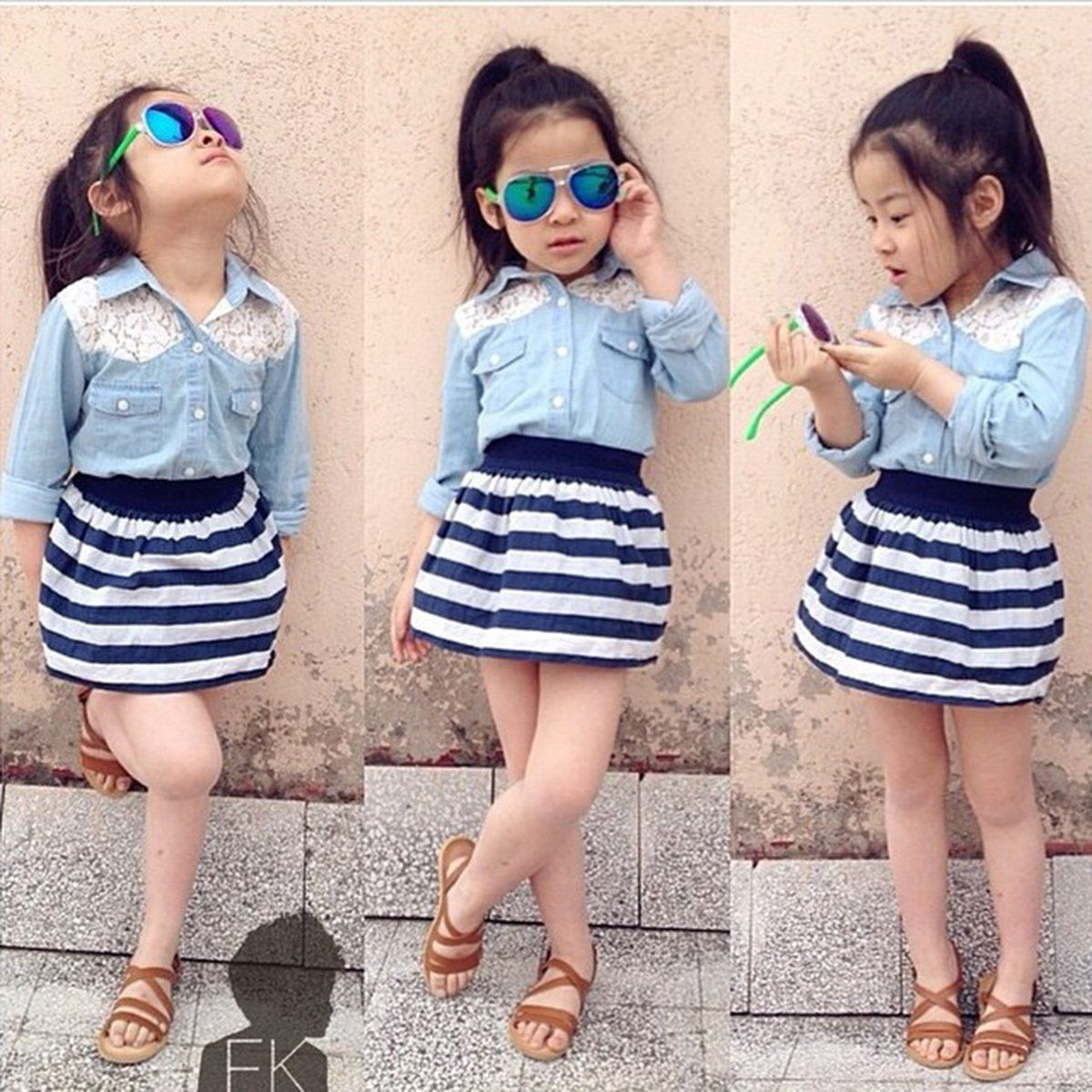 PUSEKY 2017 Summer Girl Clothing Sets 2pcs Toddler Baby Girls Summer Outfits Denim T-shirt Tops+Skirt Dress Kids Clothes Set кварцевые часы nixon sentry chrono black multi