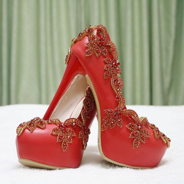 f88c307a62e New red color wedding high heels pumps shoes for women red rhinestone women  pumps red crystal wedding shoes with rhinestone