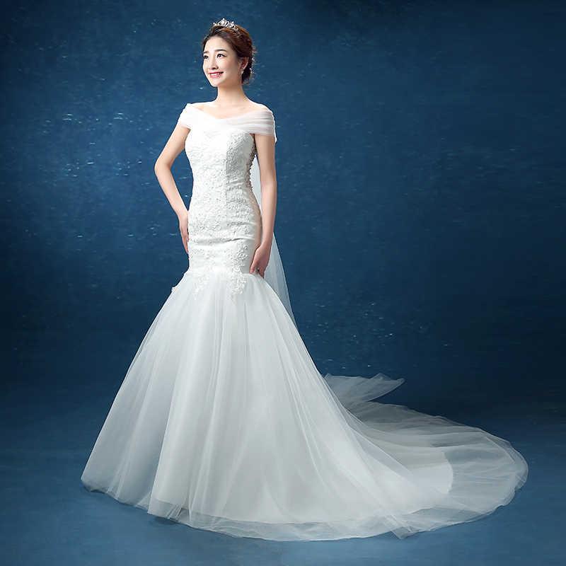 LYG-D95 # Nhỏ Kéo Đuôi Cá Lệch Vai Phối Ren Dự Tiệc Cưới Đầm Váy Xòe Cô Dâu Đầm Thời Trang Giá Rẻ bán Buôn