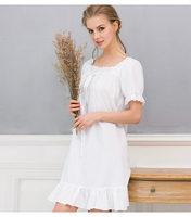 Vintage White Nightgown Vestido Branco White Cotton Nightgown Elegant Nightgowns For Women Nightie Gowns For Women