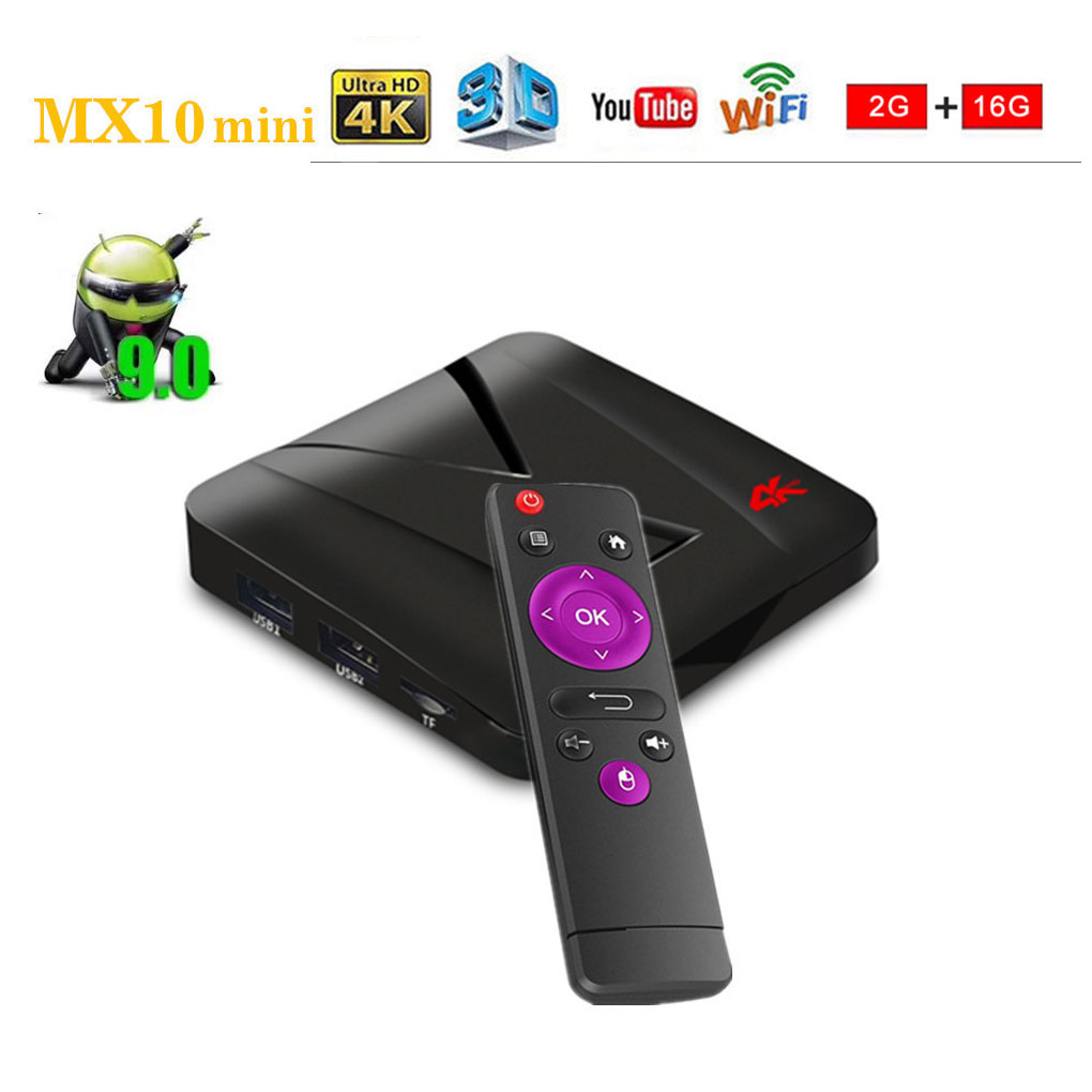 Replacement For Android 9.0 TV Box MX10 Mini Set-Top Box 2GB+16GB RK3328 Quad Core USB 2.0/3.0 WIFI 4K Internet Media PlayerReplacement For Android 9.0 TV Box MX10 Mini Set-Top Box 2GB+16GB RK3328 Quad Core USB 2.0/3.0 WIFI 4K Internet Media Player