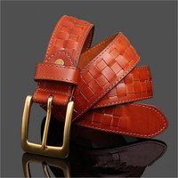 100 Solid Copper Buckle First Layer Of Leather Woven Leathe Belt Checkerboard Made Men S Leather