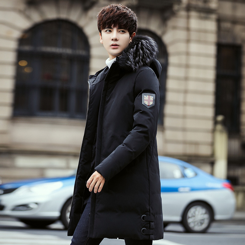 Winter new youth man down jacket men long style Korean Slim thickened hooded fur collar warm jacket male coat trend
