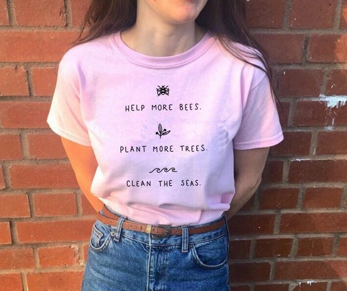 T-shirts Kuakuayu Hjn Helfen Mehr Bienen Pflanze Mehr Bäume Reinigen Die Meere Drucken T Shirts Kurzarm Plus Größe Tops Kausalen Baumwolle Vegan Hemd Angemessener Preis Oberteile Und T-shirts