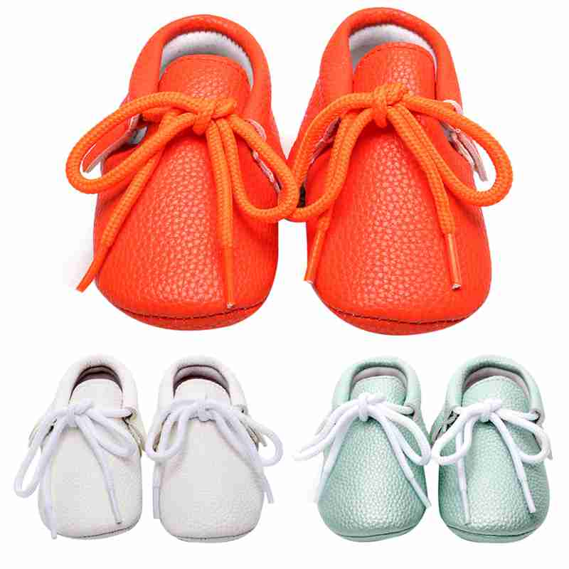 2017 New Baby Leather Shoes Infant Toddler Kids Lacing Soft Sole Sneakers First Walkers Baby Boy Non Slip Tassel Shoes for 0-24M