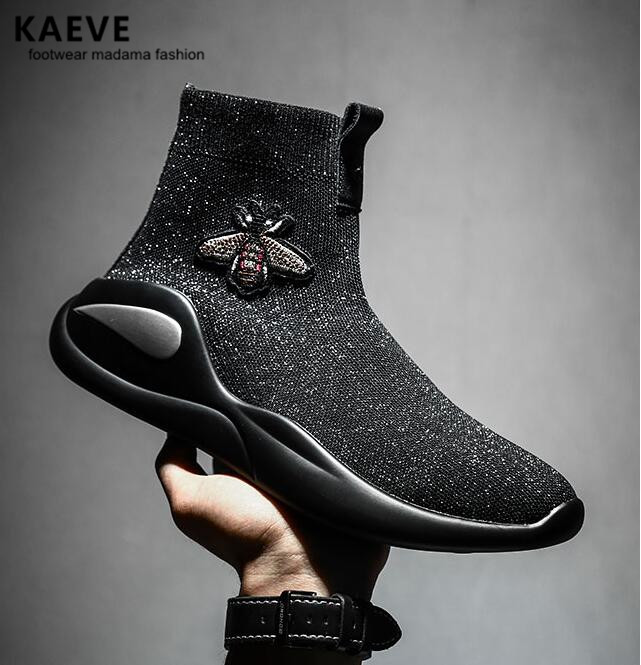 2018 Men Bee Sneaker Hip Hop Shoes Flats Summer Botas Breathable Mens hip-hop Booties Chaussure Homme Elastic Spain Moccasins 2017 new chaussure homme mens shoes casual leather vulcanize hip hop white men platform summer hot sale breathable black shoes