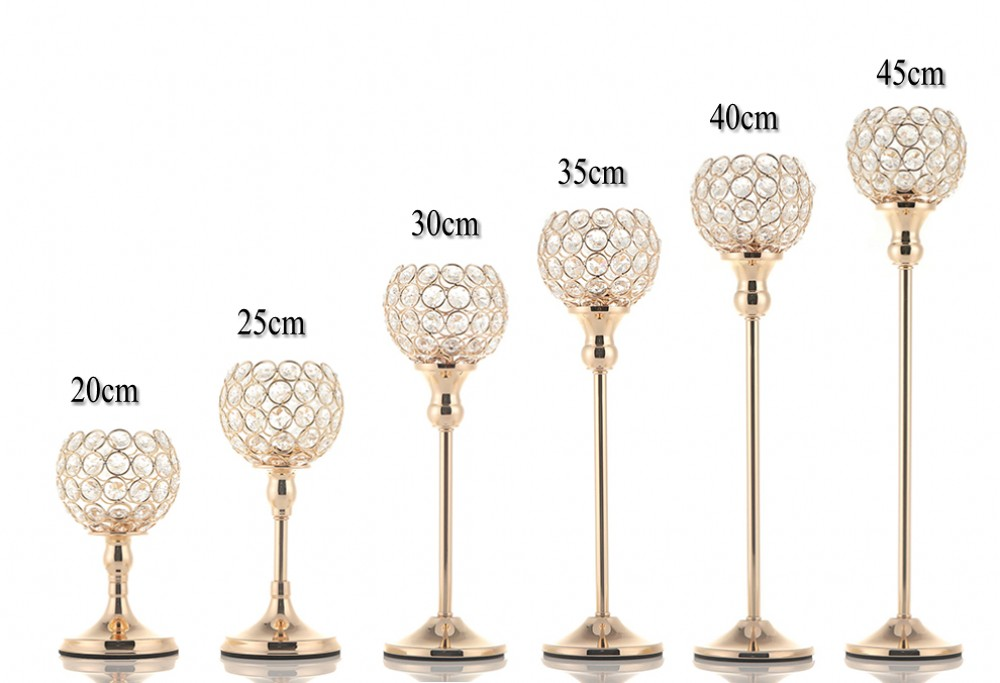 Crystal Tealight Candle Holders Metal Glass Candlesticks Table Centerpiece