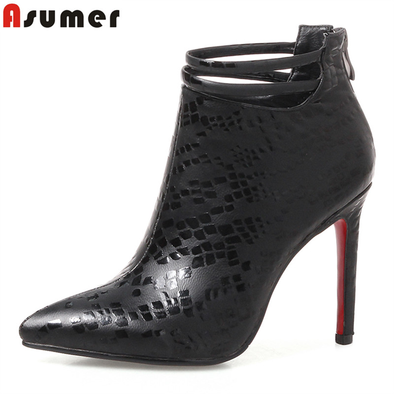 ASUMER Big size 34-43 high quality pu leather boots women super high heels autumn winter ankle boots for women wedding shoesASUMER Big size 34-43 high quality pu leather boots women super high heels autumn winter ankle boots for women wedding shoes