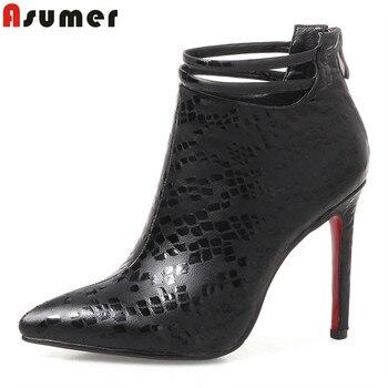 672522a9 ASUMER el tamaño grande 34-43 alta calidad pu cuero mujeres super alto  talones Otoño Invierno tobillo botas para mujeres zapatos de boda