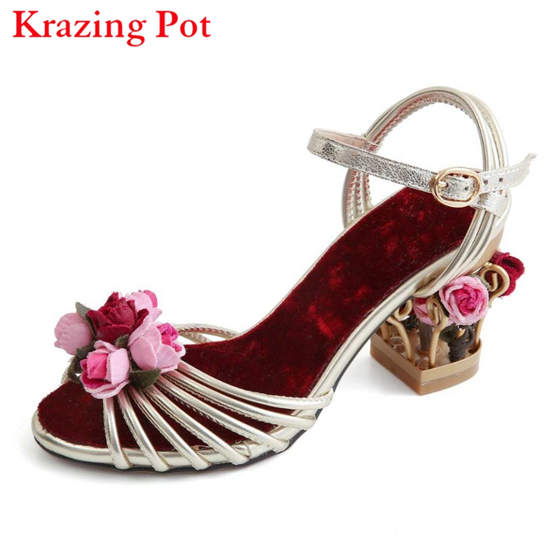 2017 Superstar Bird Cage Brand Flowers Summer Shoes Ankle Straps Peep Toe Women Sandals High Heels Velvet Luxury Casual Shoes 96 women luxury national trend cutout metal bird cage vintage rhinestone high heels velvet gem flower female high heeled shoes