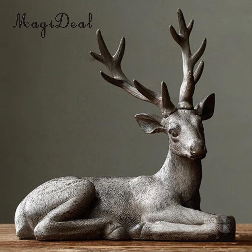 Deer Shape Garden Lawn Indoor Ornament Figurine Grassland Party Decor Statue 13x13inch