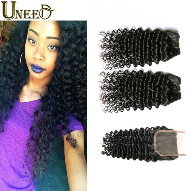 Peruvian Deep Wave With Closure Peruvian Virgin Hair With Closure Cheap Human Hair Peruvian Kinky Deep Curl Hair with Closure