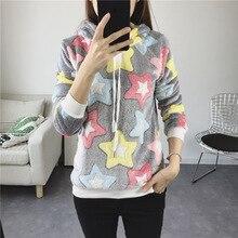 Casual Sweatshirt Tops Winter Korean Women's Long Sleeve O-Neck Pullover Hoodie Print Cartoon Sweatshirt все цены