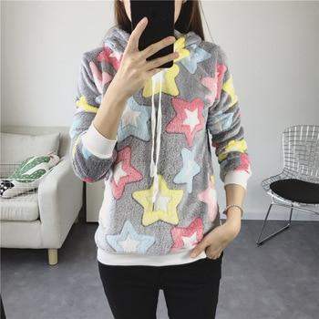 Casual Sweatshirt Tops Winter Korean Women's Long Sleeve O-Neck Pullover Hoodie Print Cartoon Sweatshirt ornate print long sleeve casual sweatshirt
