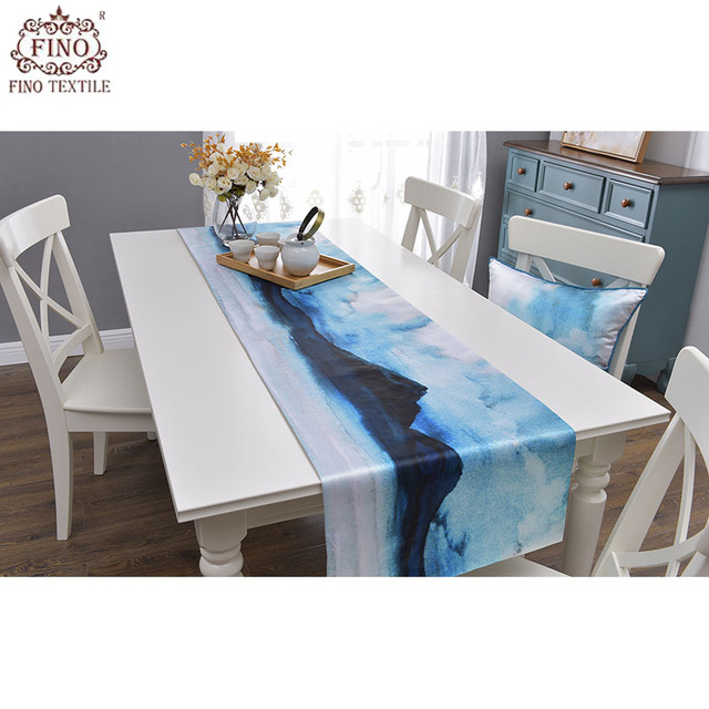Chinese Dining Table Runners Blue Silk Kitchen Tablecloth Rustic Picnic Side Living Room Runner Patio Outdoor Scenery Home