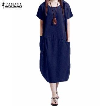 cf48a73a60fc91f ZANZEA 2019 горячая Распродажа женское платье повседневные свободные летние  платья с коротким рукавом с круглым вырезом плюс размер Vestidos