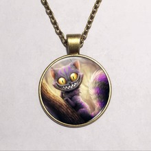 2015 New Fashion Alice in Wonderland Necklace Cheshire Cat Fairytale Jewelry Bronze silver Pendant Glass Cabochon Necklace