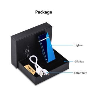 Image 5 - Personalizar USB eléctrico de doble arco encendedor recargable a prueba de viento encendedor cigarrillo doble trueno pulso cruzado encendedor Plasma