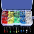 300pcs 3mm 5mm 5 Colors LED Light-emitting Diode Assorted Kit yellow/green/blue/red/clear free shipping
