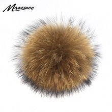 Wholesale 100% Real Raccoon Fur Pompoms Balls For Knitted Hat Cap Beanies And Keychain Scarves Pom Poms Skullies