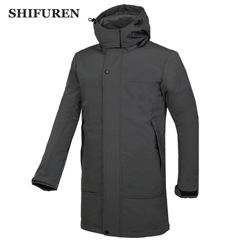 SHIFUREN Winter Men Long Hooded Outdoor Hiking Softshell Windbreaker Coat Trekking Climbing Skiing Jacket Fleece Lined Jackets
