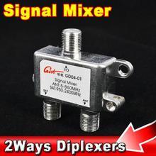 Lo nuevo Práctico 2 En 1 de Doble uso de Puerto de la Señal de TV Satélite Sat Coaxial Diplexer Combinador Divisor Combiners Cable del Interruptor Switcher