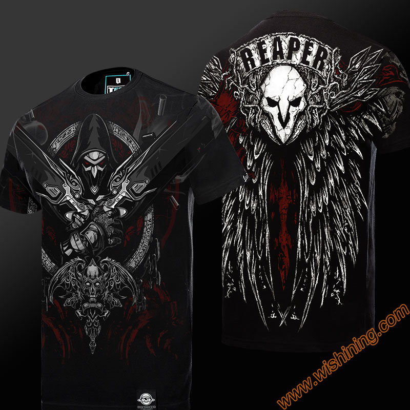 Quality 3D OW Reaper T-shirts Hanzo Oni Genji DVA Tshirt Winston Roadhog Junkrat Black T shirt Mens Boys 3XL 4XL Genji Hero Tee