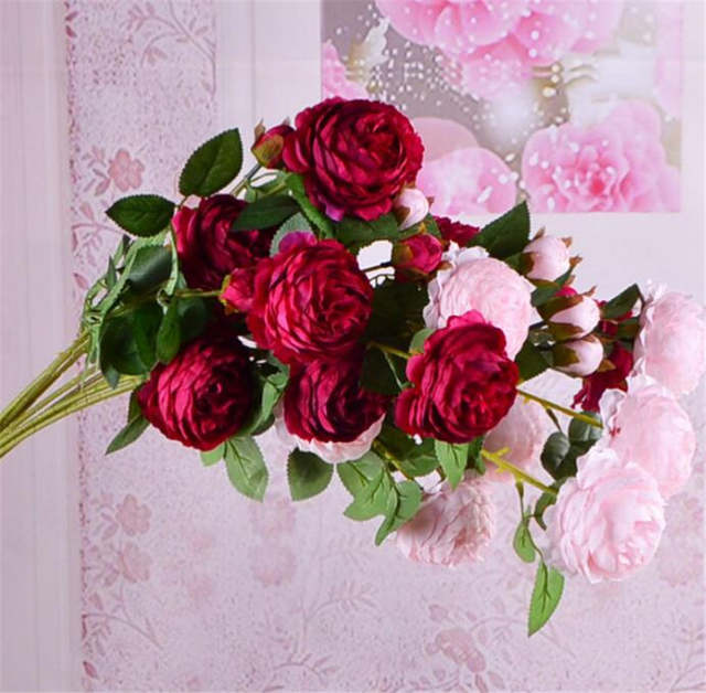 Admirable Us 26 77 40 Off 20Pcs Artificial Peony Flower Stem 3 Heads Piece Silk Tea Roses For Wedding Centerpieces Home Party Floral Decoration In Interior Design Ideas Clesiryabchikinfo