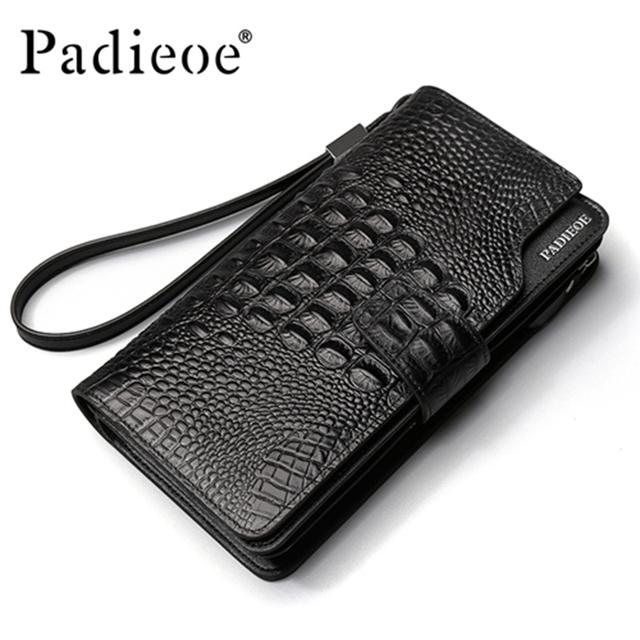 Padieoe crocodilo padrão genuínos homens de couro carteiras de marca de luxo homens de negócios de moda sacos de embreagem bolsas bolsas de couro dos homens