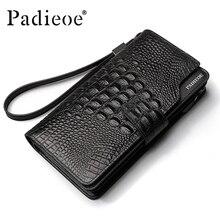 Padieoe nueva moda cartera de cuero de cocodrilo carteras de cuero de vaca genuino de los hombres carpeta de la marca para los hombres nuevos bolsos de diseño de lujo