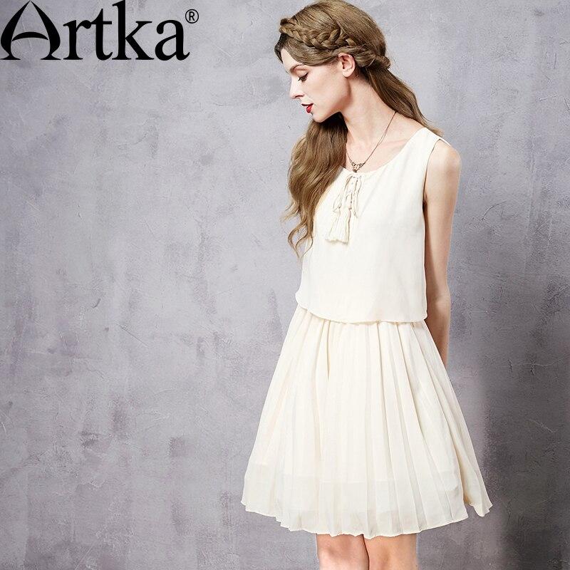 Artka Womens Summer New 2 Colors Twin-set Chiffon Dress Fashion O-Neck Sleeveless Tassels Cross Lacing Drapped Dress LA10368X