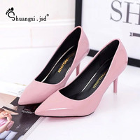 Spring And Summer Shoes Pointed High Heeled Patent Leather Suede Fine With Variety Of High Heeled