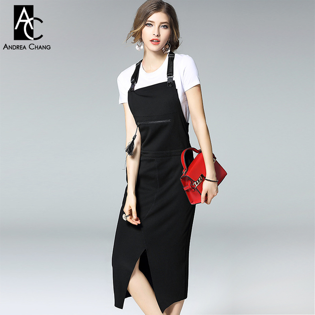 Spring Designer Runway Womens Dresses Black Overall Over Knee Calf